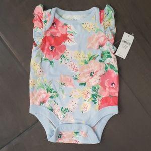 NWT BabyGap Ruffle Floral Bodysuit 0-3m